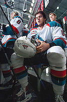 KELOWNA, CANADA - JANUARY 4: Mitchell Wheaton #6 of the Kelowna Rockets takes a break on the bench between shifts against the Vancouver Giants on January 4, 2014 at Prospera Place in Kelowna, British Columbia, Canada.   (Photo by Marissa Baecker/Shoot the Breeze)  ***  Local Caption  ***