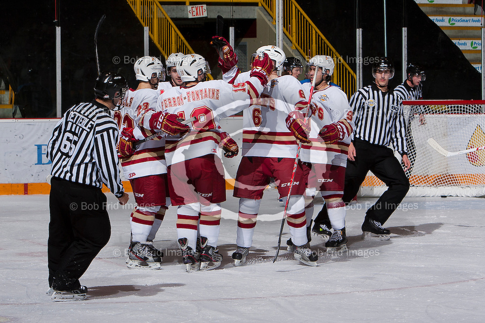 10 November 2012: Josh Hansen (15) of the Chiefs, Trevor Hills (23) of the Chiefs, Alexandre Perron - Fontaine (19) of the Chiefs, Eric Roberts (6) of the Chiefs, Luke Esposito (9) of the Chiefs  during a game between the Chilliwack Chiefs and the Penticton Vees at  Prospera Centre, Chilliwack, BC.    Final Score: Chilliwack 5  Penticton 4   ****(Photo by Bob Frid - All Rights Reserved 2012): mobile: 778-834-2455 : email: bob.frid@shaw.ca ****