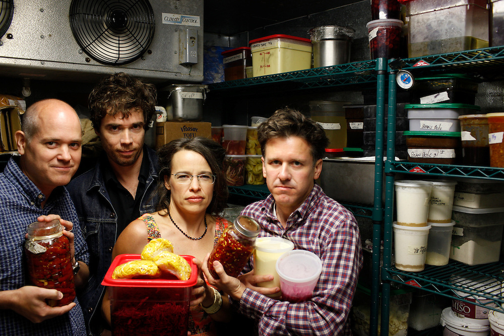 Superchunk; Jim Wilbur, Jon Wurster, Laura Ballance,   and Mac McCaughan inside the cooler of Lantern in Chapel Hill, N.C.