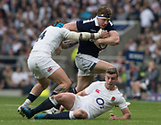 Twickenham, United Kingdom.  Hamish WATSON, running with the ball during the Six Nations International Rugby, Calcutta Cup Game, England vs Scotland, RFU Stadium, Twickenham, England, <br />