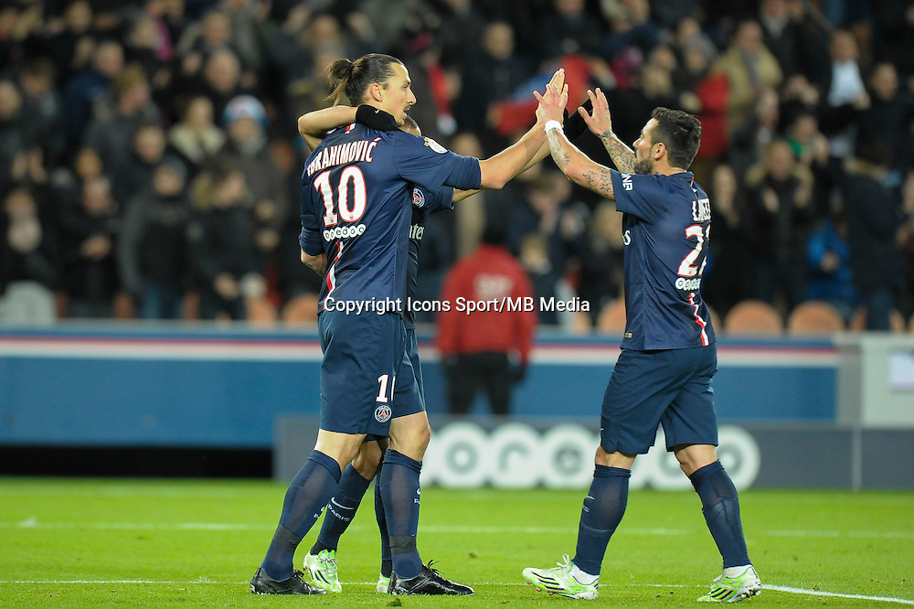 Joie PSG / Zlatan Ibrahimovic - 06.12.2014 - PSG / Nantes - 17eme journee de Ligue 1<br />