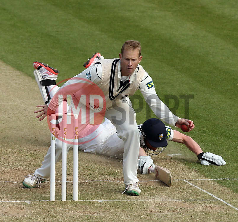 Durham's Paul Collingwood is nearly run out by Middlesex's Adam Voges - Photo mandatory by-line: Robbie Stephenson/JMP - Mobile: 07966 386802 - 04/05/2015 - SPORT - Football - London - Lords  - Middlesex CCC v Durham CCC - County Championship Division One