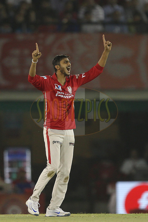 Akshar Patel of Kings XI Punjab celebrates the wicket of  Manish Pandey of Kolkata Knight Riders during match 13 of the Vivo Indian Premier League ( IPL ) 2016 between the Kings XI Punjab and the Kolkata Knight Riders held at the IS Bindra Stadium, Mohali, India on the 19th April 2016<br /> <br /> Photo by Ron Gaunt / IPL/ SPORTZPICS