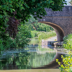 Canal bridge with reflections Devizes May 2020