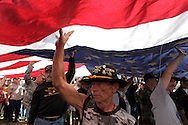 Jerry Hogan, B Troop, 1/9th Cavalry, right, participates in opening ceremonies. Vietnam Veterans gather in Kokomo, Indiana for the 2009 reunion.