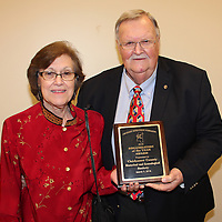 (Floyd Ingram / Buy at photos.chickasawjournal.com)<br /> The Chickasaw County Historical and Genealogcial Society was presented the Organization of the Year Award at the Chickasaw Development Foundation banquet March 3, 2016. Shown accepting the award were Sally and Lamar Beaty.