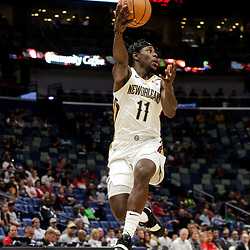Oct 11, 2018; New Orleans, LA, USA; New Orleans Pelicans guard Jrue Holiday (11) passes against the Toronto Raptors during the first half at the Smoothie King Center. Mandatory Credit: Derick E. Hingle-USA TODAY Sports
