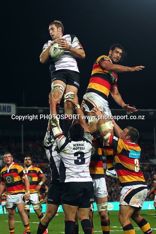 Canterbury's Luke Romano wins a lineout. ITM Cup Final, Waikato v Canterbury at Waikato Stadium, Hamilton, New Zealand. Saturday 3rd September 2011. Photo: Anthony Au-Yeung / photosport.co.nz