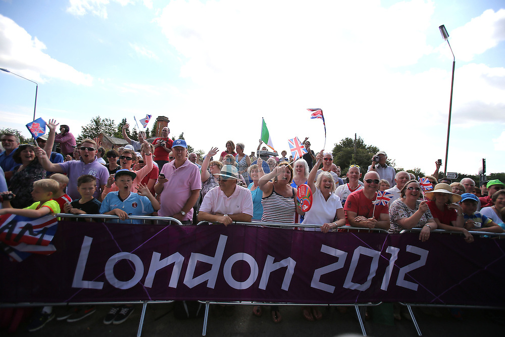 Fans cheer during the Olympic Cycling men's road race during day 1 of the Olympic Games London, 28 Jul 2012..(Jed Jacobsohn/for The New York Times)....
