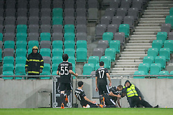 Players of Qarabag celebrate goal during 1st Leg football match between NK Olimpija Ljubljana (SLO) and Qarabag FK (AZE) in First qualifying round of UEFA Champions League 2018/19, on July 11, 2018 in SRC Stozice, Ljubljana, Slovenia. Photo by Urban Urbanc / Sportida