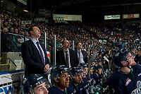KELOWNA, CANADA - APRIL 25: Seattle Thunderbirds' assistant coach Matt O'Dette, head coach Steve Konowalchuk and assistant coach Tyler Alos stand on the bench against the Kelowna Rockets on April 25, 2017 at Prospera Place in Kelowna, British Columbia, Canada.  (Photo by Marissa Baecker/Shoot the Breeze)  *** Local Caption ***