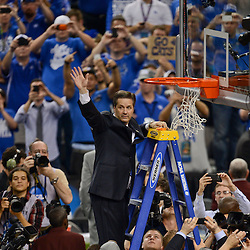 Apr 2, 2012; New Orleans, LA, USA; Kentucky Wildcats head coach John Calipari cuts down the net after defeating the Kansas Jayhawks 67-59 in the finals of the 2012 NCAA men's basketball Final Four at the Mercedes-Benz Superdome. Mandatory Credit: Derick E. Hingle-US PRESSWIRE