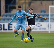 Bolton Wanderers' Gary Madine and Dundee's Kerr Waddell - Dundee v Bolton Wanderers pre-seson friendly at Dens Park, Dundee, Photo: David Young<br /> <br />  - © David Young - www.davidyoungphoto.co.uk - email: davidyoungphoto@gmail.com