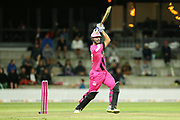 Knights Daryl Mitchell batting during the Burger King Super Smash Twenty20 cricket match Knights v Stags played at Bay Oval, Mount Maunganui, New Zealand on Wednesday 27 December 2017.<br /> <br /> Copyright photo: &copy; Bruce Lim / www.photosport.nz