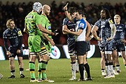 Michael Paterson yellow carded during the Aviva Premiership match between Sale Sharks and Northampton Saints at the AJ Bell Stadium, Eccles, United Kingdom on 25 November 2017. Photo by George Franks.