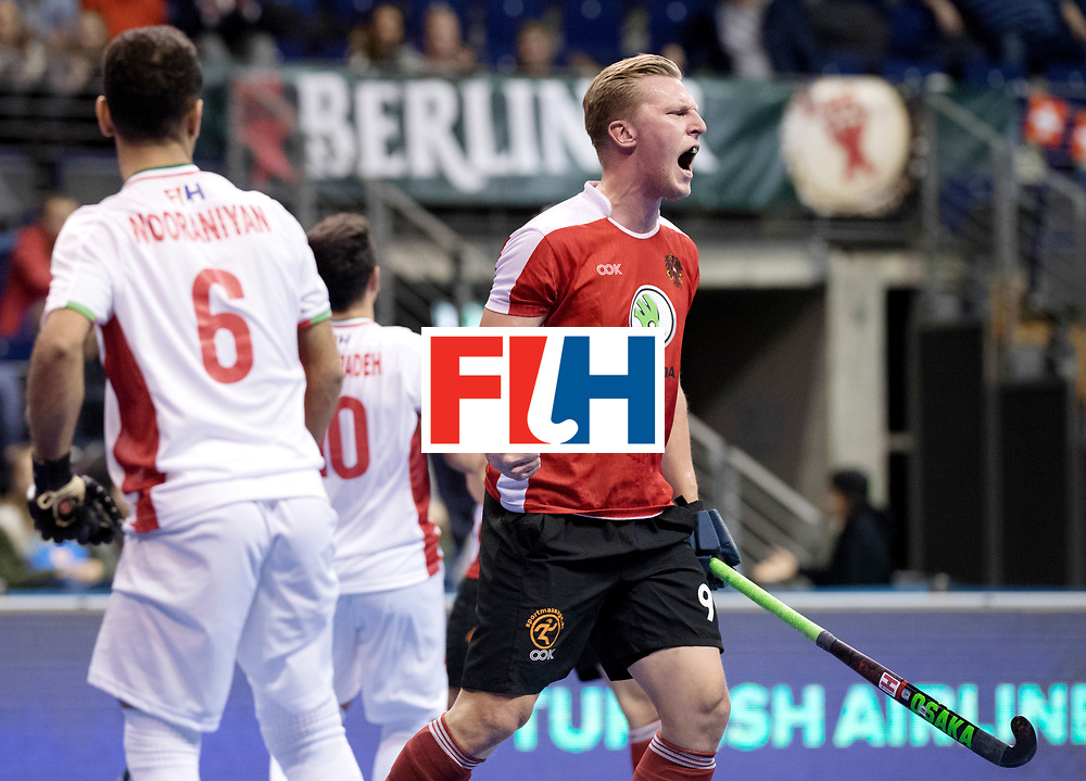 BERLIN - Indoor Hockey World Cup<br /> Men: Iran - Austria<br /> foto: Michel K&ouml;rper scored the equaiser.<br /> WORLDSPORTPICS COPYRIGHT FRANK UIJLENBROEK