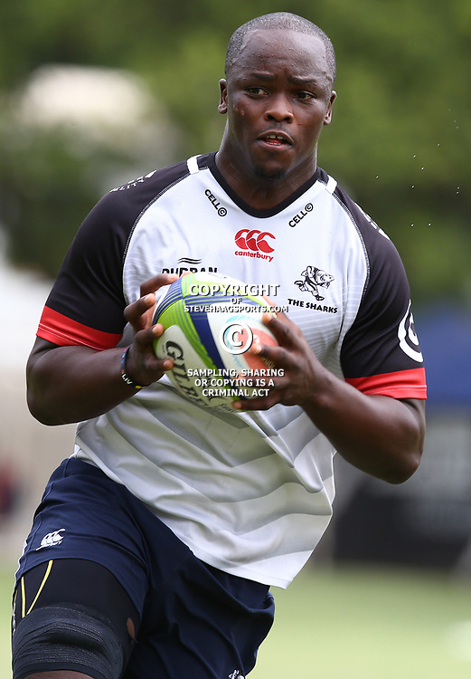 Lubabalo Tera Mtembu during The Cell C Sharks training session at Growthpoint Kings Park in Durban, South Africa. 13th March 2017(Photo by Steve Haag)<br /> <br /> images for social media must have consent from Steve Haag