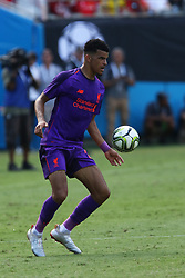 July 22, 2018 - Charlotte, NC, U.S. - CHARLOTTE, NC - JULY 22: Dominic Solanke (29) of Borussia Dortmund with the ball during the International Champions Cup soccer match between Liverpool FC and Borussia Dortmund in Charlotte, N.C. on July 22, 2018. (Photo by John Byrum/Icon Sportswire) (Credit Image: © John Byrum/Icon SMI via ZUMA Press)