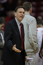 11 December 2010: Rob Judson shows some angst during an NCAA basketball game between the Illinois - Chicago Flames (UIC) and the Illinois State Redbirds (ISU) at Redbird Arena in Normal Illinois.