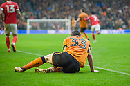 Leo Bonatini of Wolverhampton Wanderers after a heavy challenge during the EFL Sky Bet Championship match between Wolverhampton Wanderers and Nottingham Forest at Molineux, Wolverhampton, England on 20 January 2018. Photo by Darren Musgrove.