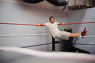 Dustin Driscoll, of Port St. Lucie, takes a break during wrestling class at Championship Wrestling Entertainment's gym at 1035 SW Biltmore St. in Port St. Lucie on Wednesday, April 22, 2015. (XAVIER MASCAREÑAS/TREASURE COAST NEWSPAPERS)