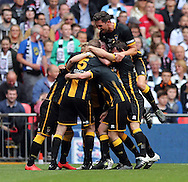 Morpeth Town AFC celebrate scoring to make it 1-1  during the FA Vase Final at Wembley Stadium, London<br /> Picture by Simon Moore/Focus Images Ltd 07807 671782<br /> 22/05/2016