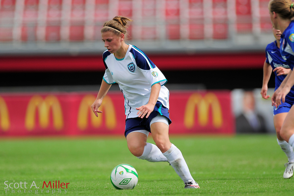 VSI Tampa Bay defender Kacy Scarpa (19) in action against the Charlotee Lady Eagles in a USL W-League soccer match at Plant City stadium in Plant City, Florida on June 7, 2013.<br /> <br /> &copy;2013 Scott A. Miller