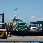 AUGUST 27, 2018--VIEQUES---PUERTO RICO--<br /> A ferry with fuel delivery trucks arrives at the port of Vieques from the port of Fajardo.<br /> (Photo by Angel Valentin/Freelance)