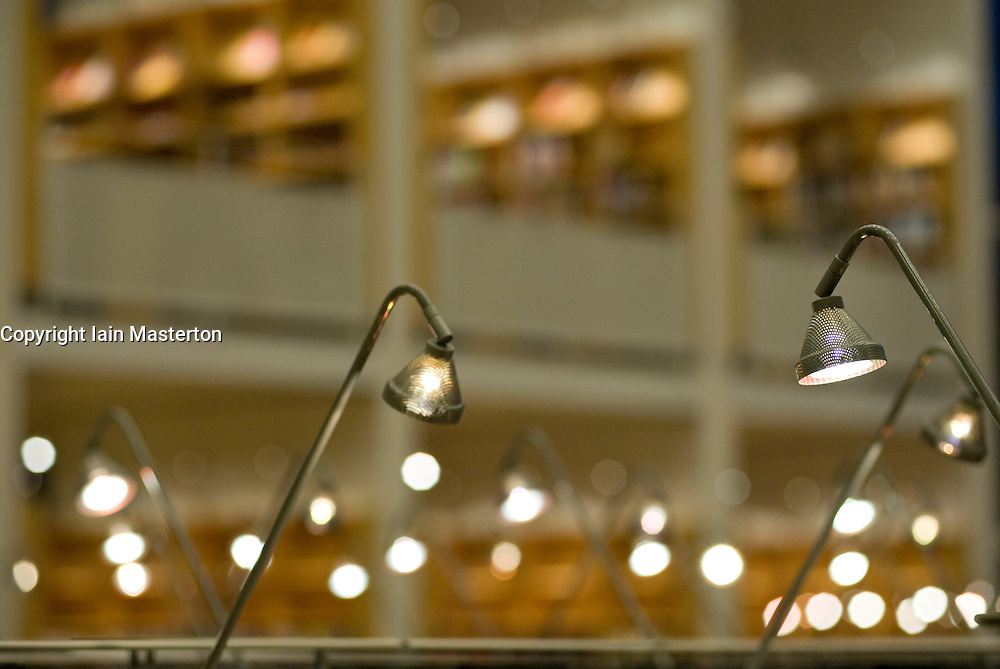 Lighting inside public library in Malmo Sweden