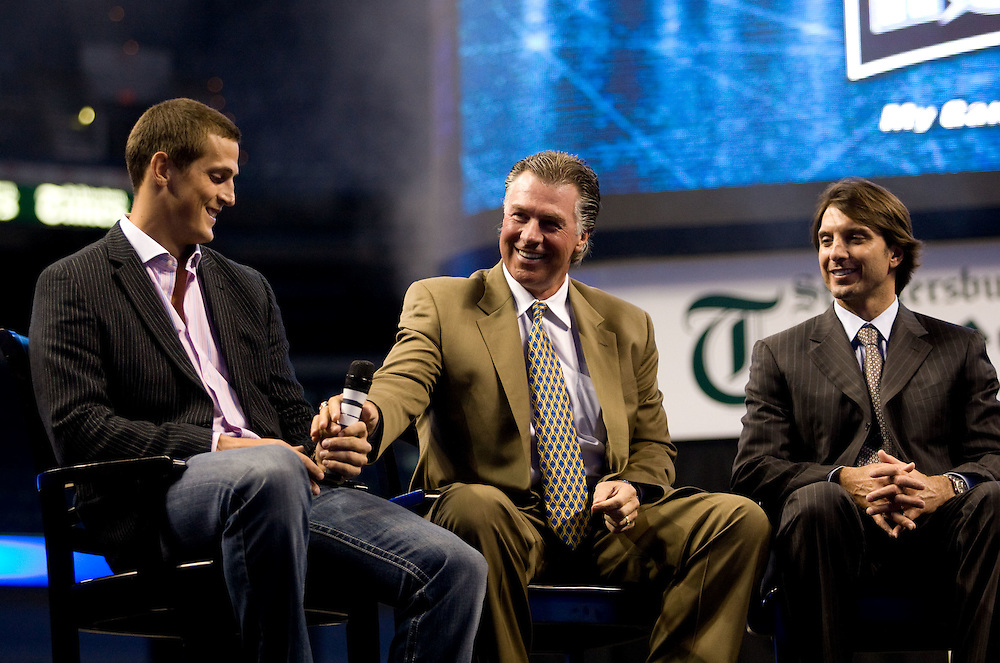Tampa Bay Lightning Town Hall Meeting  with  player Vinny Lecavalier, coach Barry Melrose, owner's Oren Koules, Len Barrie, Craig Sher, Irwin Novack along with VP of Hockey Operations Brian Lawton in Tampa, Florida July 15, 2008. TAMPA BAY LIGHTNING Photo/Scott Audette