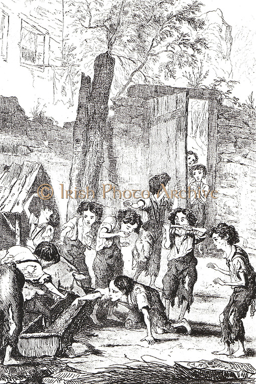 Half-starved factory children supplementing their meagre rations by stealing food from a pig trough. Many such children would have been supplied by the workhouse. From Frances Trollope 'The Life and Adventures of Michael Armstrong', London, 1840.