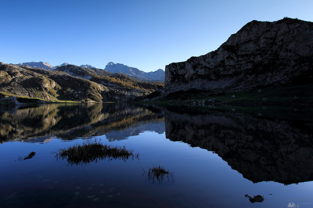 Reflections in Lago de la Ercina in the western area of the Picos de Europa
