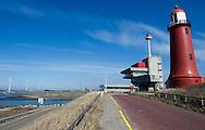 """Lage vuurtoren bij IJmuiden, Noord-Holland. Sinds 1981 een Rijksmonument. De roodbruine, gietijzeren toren die is ontworpen door Quirinus Harder. De toren heeft een hoogte van 24 meter en vormt samen met de Hoge vuurtoren van IJmuiden een lichtlijn die de IJgeul en de ingang van de haven markeert. De toren telt vijf verdiepingen en 88 treden. - The Lage vuurtoren van IJmuiden (""""low lighthouse of IJmuiden"""") is a round, cast-iron lighthouse in IJmuiden, Netherlands, designed by Quirinus Harder. - Together with the Hoge vuurtoren van IJmuiden, the 24-meter high lighthouse forms a pair of leading lights marking the IJgeul (the entrance on the North Sea to the North Sea Canal). The lighthouse now has five stories and 88 steps; it is unmanned and not open for visitors. Since 1981 it is a Rijksmonument."""