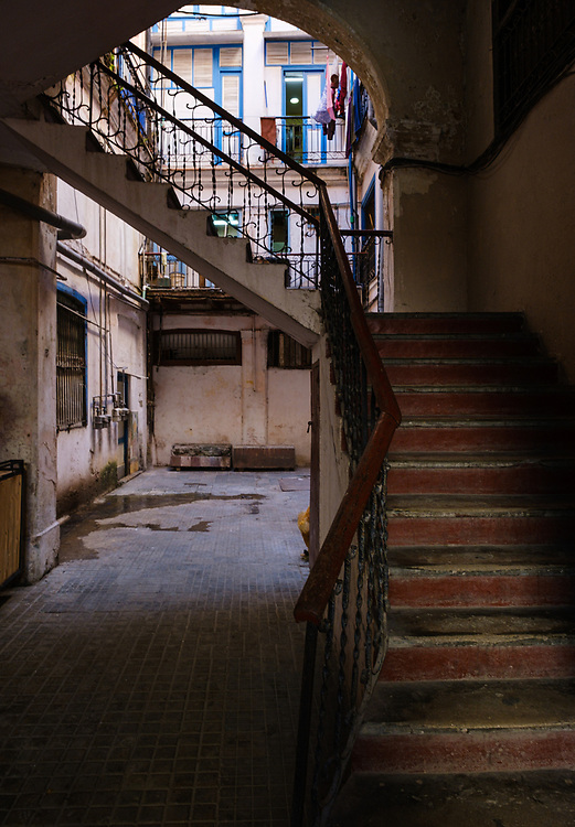 HAVANA, CUBA - CIRCA JANUARY 2020: Entrance to old building in Havana, typicaly called Solar.