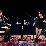 NHPR's Virginia Prescott interviews US Supreme Court Justice Sonia Sotomayor during a Writers on a New England Stage show at The Music Hall in Portsmouth, NH