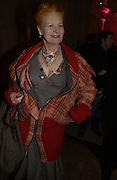 "Vivienne Westwood. The private views for Anna Piaggi's exhibition ""Fashion-ology"" and also 'Popaganda: the life and style of JC de Castelbajacat' the Victoria & Albert Museum on January 31  2006. © Copyright Photograph by Dafydd Jones 66 Stockwell Park Rd. London SW9 0DA Tel 020 7733 0108 www.dafjones.com"