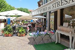 Cafe Torino and neighboring Perfume Shop, Piazza Cadorna. Stressa, Lake Maggiore, Northern Italy.