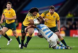 Tatafu Polota-Nau of Australia takes on the Argentina defence - Mandatory byline: Patrick Khachfe/JMP - 07966 386802 - 25/10/2015 - RUGBY UNION - Twickenham Stadium - London, England - Argentina v Australia - Rugby World Cup 2015 Semi Final.