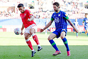 Charlton Athletic forward Macauley Bonne defending the ball during the EFL Sky Bet Championship match between Wigan Athletic and Charlton Athletic at the DW Stadium, Wigan, England on 21 September 2019.