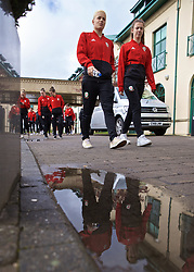 CARDIFF, WALES - Thursday, April 4, 2019: Wales' Grace Horrell (L) and goalkeeper Olivia Clarke (R) during a pre-match team walk at the Vale Resort ahead of an International Friendly match between Wales and Czech Republic at Rodney Parade. (Pic by David Rawcliffe/Propaganda)
