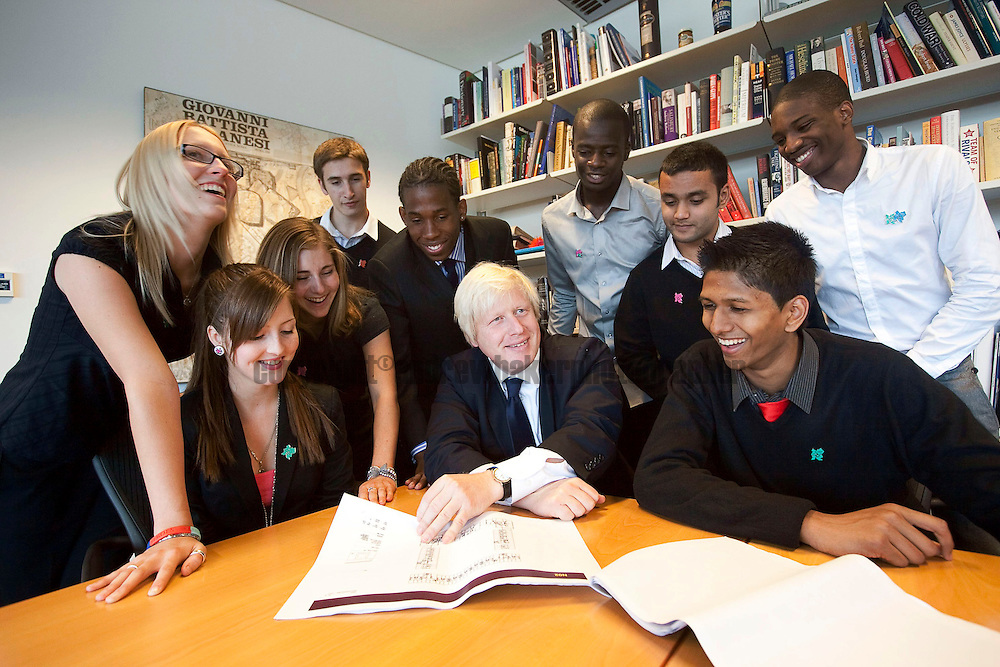 Latest group of School leavers to start with LOCOG, Meet Mayor of London, Boris Johnson at City Hall..17th Sept'09..Photo Andrew Baker..07977074356