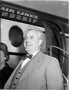 16/04/1960<br /> 04/16/1960<br /> 16 April 1960<br /> Boat designer Mr Uffa Fox arrives in Dublin Airport for Boat Week. Uffa Fox was an English boat designer and sailing enthusiast with many well known designs.