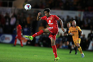 Oran Jackson of MK Dons in action. EFL cup, 1st round match, Newport county v Milton Keynes Dons at Rodney Parade in Newport, South Wales on Tuesday 9th August 2016.<br /> pic by Andrew Orchard, Andrew Orchard sports photography.