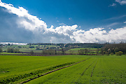 Landschaft, Felder, Wolken, Frühling, Vogelsberg, Hessen, DeutschlandLandschaft Vogelsberg