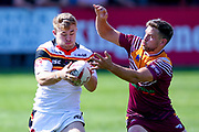 Bradford Bulls hooker Sam Hallas (29) grabs the ball and tries to get away during the Kingstone Press Championship match between Batley Bulldogs and Bradford Bulls at the Fox's Biscuits Stadium, Batley, United Kingdom on 16 July 2017. Photo by Simon Davies.