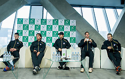 Team Slovenia: Mike Urbanija, Blaz Trupej, Blaz Kavcic, Janez Semrajc and Tom Kocevar Desman during press conference of Davis Cup Slovenia vs Portugal competition on January 28, 2014 in BTC City, Ljubljana, Slovenia. Photo by Vid Ponikvar / Sportida