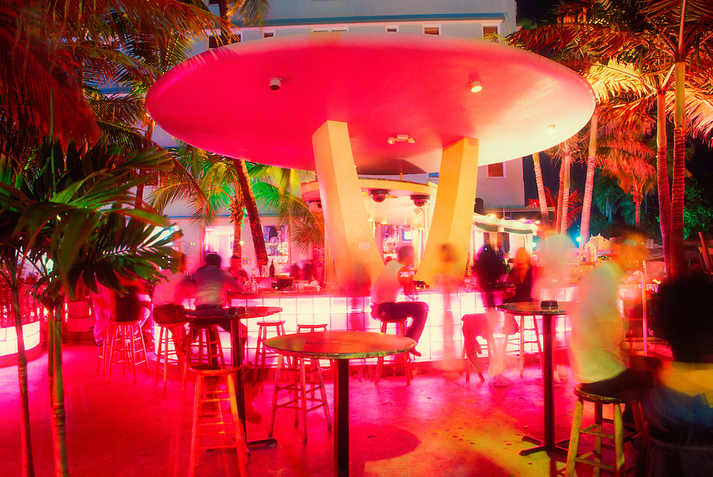 The flying saucer-like bar at the Clevelander Hotel on Miami Beach's famous Ocean Drive. This spectacular structure epitomizes the space age flamboyance of the Miami Modern (MiMo) style of the 1950s and early '60s.