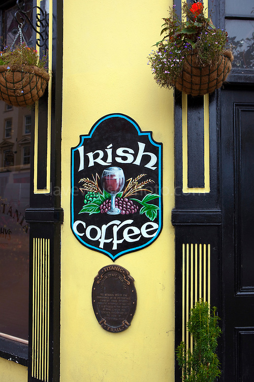 Irish Coffee sign outside a pub in Cobh, Cork, Ireland. Irish coffee is a mixture of coffee, whiskey, sugar and cream.
