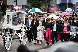 © Licensed to London News Pictures . 14/09/2018. Salford, UK. The cortege arrives . The funerals of Demi Pearson , Brandon Pearson , Lacie Pearson and Lia Pearson , at St Paul's Church in Walkden . Demi , Brandon , Lacie and Lia were aged 15 , eight , seven and three respectively when their home was set on fire as they slept . Zak Bolland and David Worrall were handed four life sentences for their murders . Photo credit: Joel Goodman/LNP