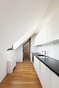 Interior, beautiful loft, hardwood floor, modern kitchen